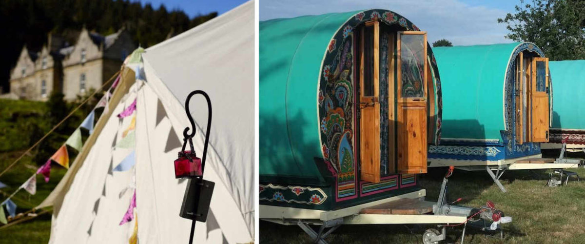 Tents and gypsy caravans.